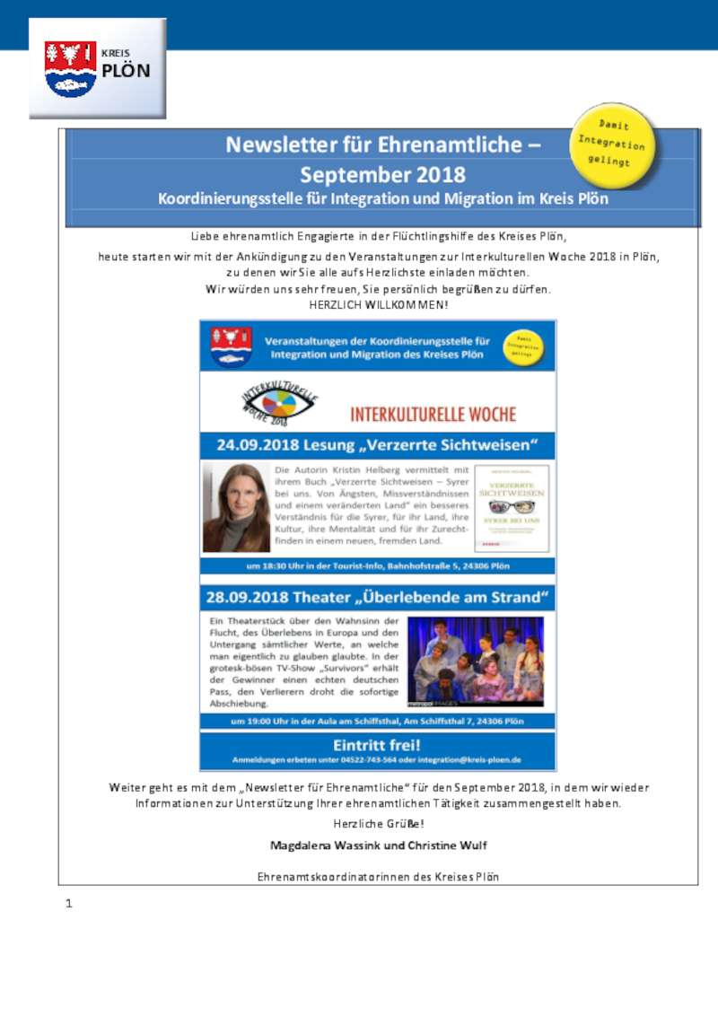 Dokument anzeigen: Newsletter Ehrenamt September 2018